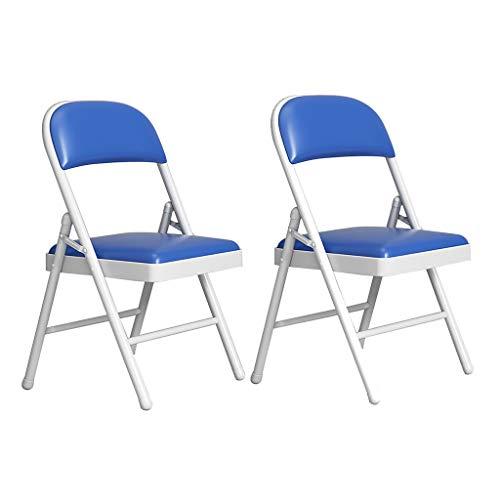 ZWJLIZI (2 stücke) Klappstuhl, Haus Tragbare PU-Farbe Gepolsterter Stuhl, einfachen weißen Eisenrahmen Computer Büro-Konferenzstuhl (Color : F)