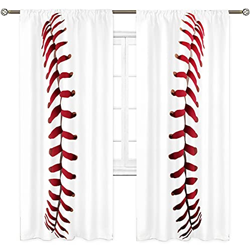 Cinbloo Sports Living Room Baseball Curtains Rod Pocket Pink Red Lines Gym Girls Boys Men Waterproof Art Printed Bedroom Window Drapes Treatment Fabric 2 Panels 52 (W) x 84(L) Inch