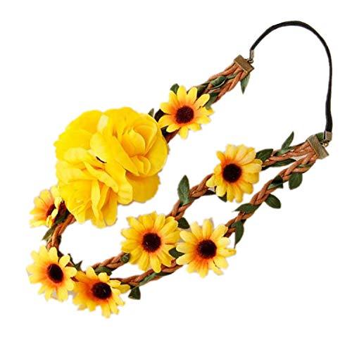odetojoy Sonnenblume Krone, Big Sonnenblume Haarband Sonnenblume Halo, Sunflower Haar Kranz, Sonnenblume Kopfbedeckung, Fall Blume Krone