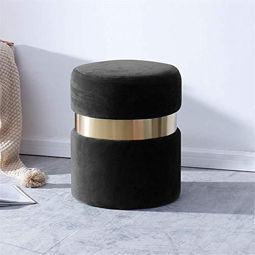 TEHWDE Kruk stoel voor kinderen kleine ronde Vanity kruk, fluweel moderne gestoffeerde voet rust stoel met goud vergulde basis voor dressoir badkamer slaapkamer woonkamer kantoor