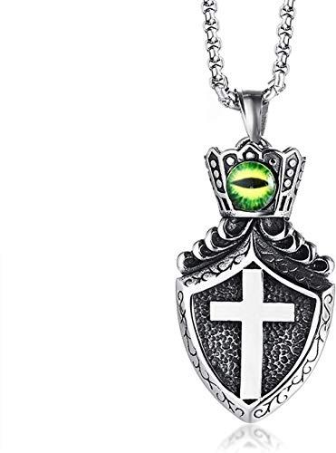HYJMJJ Collar de crucifijo Cruzado con Cadena Acero Inoxidable Cristo Cruz Verde Escudo Mal Eey Tag Jesús Collar de los Hombres de Colgante de Collar Negro Collar de joyería Cristiana católica
