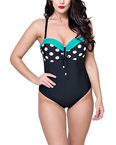 Mujer Retro 50s Punto Bikini Tallas Grandes Bañadores Una Pieza Traje De Baño Monokinis Verde 50
