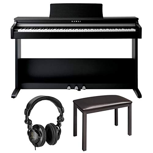 Kawai KDP70 88-Keys Digital Piano with Stand and Bench - Bundle With H&A Closed-Back Studio Monitor Headphones, On-Stage KB8904B Deluxe Piano Bench with Storage Compartment