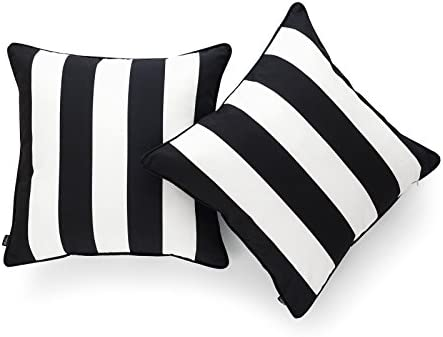 Hofdeco Decorative Throw Pillow Cover ONLY Indoor Outdoor Water Resistant Canvas Modern Black product image