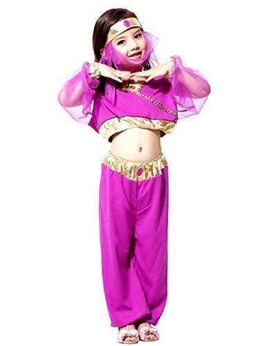 Vestido de carnaval de Odalisca rabe, color fucsia y dorado, talla L, 6-7 aos, idea de disfraz de nia