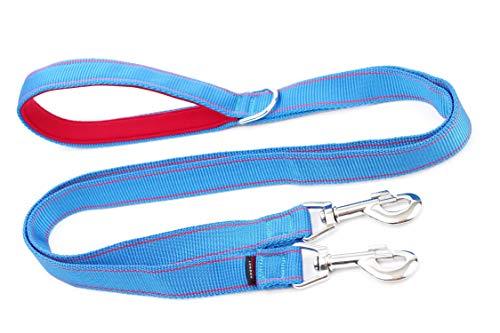 Kupplung Hundeleine Doppelleine 100cm/1Meter/hellgrauen Pfotenabdrücken Duplex mit doppelt, Leine mit zusätzlichen Neopren Griff stark Hund Leine/Leine SPLITTER Hand Made, echte dogdirect London cou1mneo (blue-red) DN7