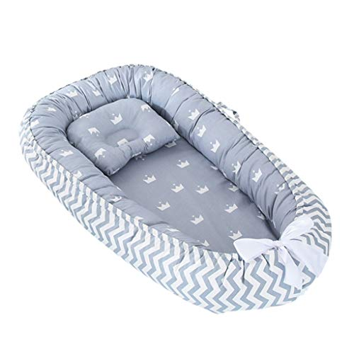 New Baby Bionic Bed,Newborn Infant Baby Portable Removable and Washable Crib Bed Cartoon Pillow (0-3...