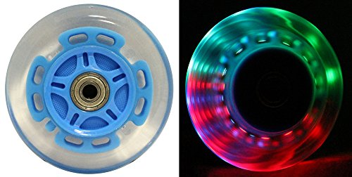 L.E.D. Scooter Wheels with ABEC 9 Bearings for Razor Scooters 100mm Light Up 2-Pack (Blue)