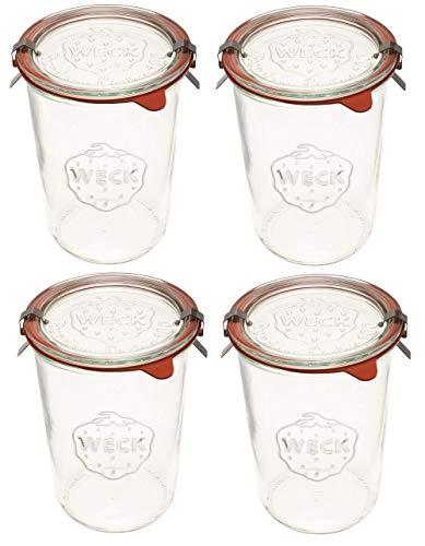 Weck Canning Jars 743 - Weck - Set di 4 barattoli in vetro trasparente, ecologici, contenitori per alimenti con coperchio, ermetici, 3/4 litri, set di 4 barattoli con coperchio