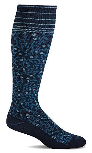 Sockwell Women's New Leaf Firm Graduated Compression Sock, Navy - M/L