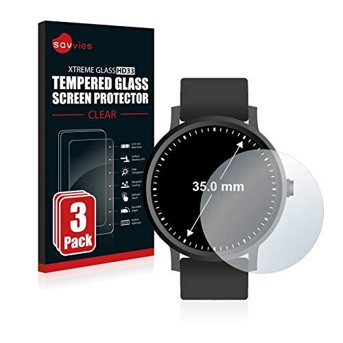 Savvies Panzerglas kompatibel mit Armbanduhren (Kreisr&, Durchmesser: 35 mm) (3 Stück) - Echt-Glas, 9H Festigkeit, Anti-Fingerprint