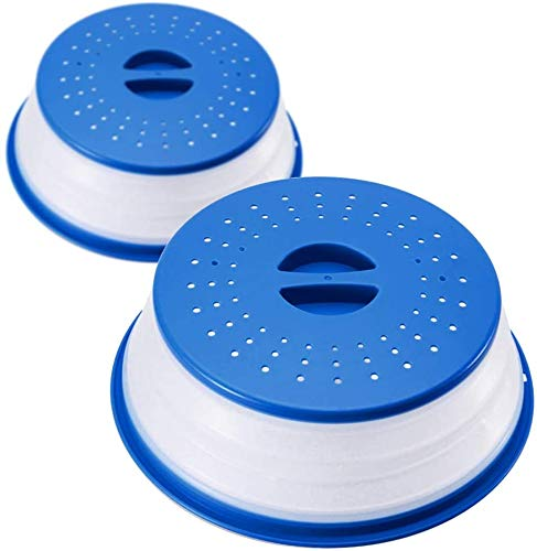 Herbests 2er Set Faltbare Mikrowellen Abdeckung für Mikrowellenteller, Mikrowellen Haube Spritzschutz Deckel mit Sieb für Obst und Gemüse,verhindert Spritzen,auch als Obstfilterkorb,Blau