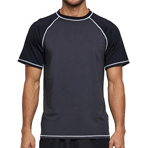 Arcweg Rashguard Homme Manches Courts M-3XL T-Shirt Anti-UV UPF 50+ Sechage Rapide Léger pour Surf Natation Plongée Plage Girs Foncé 2XL[EU] Tour de Poitrine: 114-119cm