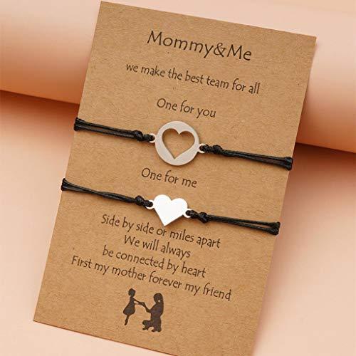 Branets Pinky Promise - Pulseras de corazón para parejas de amistad y madre (2 unidades)