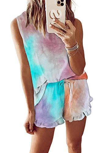 Hawiton Pijamas Mujer Verano Corto, Pijama de Tie-Dye Estampado, Camiseta de Tirantes y Pantalones Corta Ropa de Dormir 2 Piezas