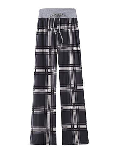 Kelinfei Women Drawstring Palazzo Wide Leg Lounge Pants Pajama Pants Sleepwear Yoga Pants (Black Square, XL)
