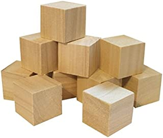 Hygloss Products Unfinished Wood Blocks - Blank Wooden Building Block Cubes – 1 Inches, 12 Pack