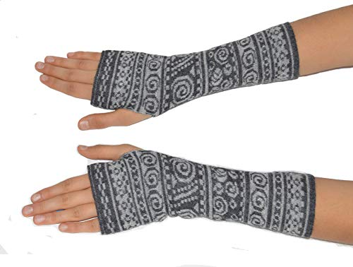 Invisible World Women's Alpaca Wool Fingerless Gloves Texting Typing Chimu Charcoal Light Gray