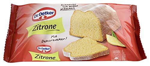 Dr. Oetker fertiger Zitronenkuchen, 4er Pack (4 x 350 g), Rührkuchen mit natürlichem Zitronenaroma, mit feinem Dekorzucker, sofort verzehrfertig, Kuchen für spontane Anlässe, wie selbstgebacken