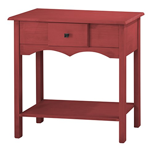 Manhattan Comfort Jay Collection Modern Wooden Sideboard Table with One Drawer and One Shelf, Red