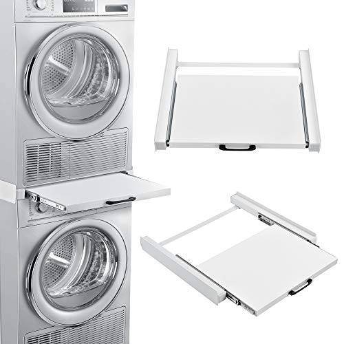 [en.casa] Supporto Universale in Metallo Sovrapposizione per Lavatrice e Asciugatrice con Ripiano Estraibile Kit di Congiunzione/Accatastamento - Bianco
