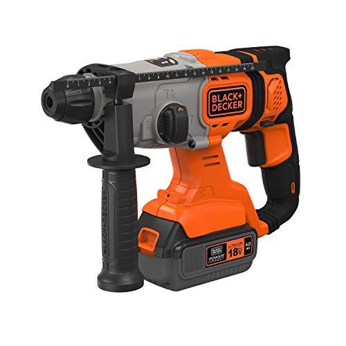 Black+Decker BCD900M1K-QW Bohrhammer 1,2J SDS + kabellos 18 V – 4 Ah – im Koffer, 1 Akku 4 Ah, 1 Ladegerät 2 A, 1 seitlicher Griff, 1 Bohrfutter und 1 Betonbohrer