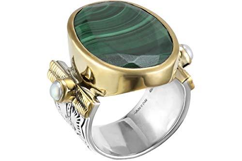 Canyon Bijoux Ring aus 925er Silber, vergoldet, Malachit, Perlmutt, 12,2 g, T52