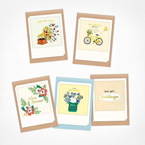 PICKMOTION Set mit 5 Foto-Gruß-Karten mit Umschlag Grüße & Wünsche, Premium Instagram-Liebe und Valentinstag-Karten, handgemachte Klappkarten, lustige Sprüche & Motive, Tiere, Blumen BMK-0127 bunt