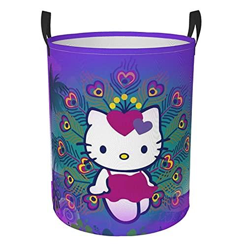 Hello Kitty Cartoon Anime Cesta de lavandería para gatos niños niñas impermeable para almacenamiento organizador de habitación de los niños Organizador de hogar baño grande circular