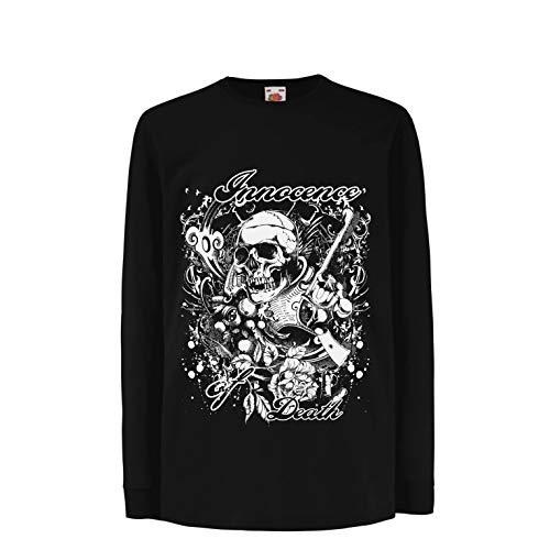 lepni.me Camiseta para Niño/Niña Inocencia de la Muerte - Calavera Arte, gráfico de Heavy Metal (7-8 Years Negro