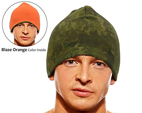 Tirrinia Herren Blaze Orange Beanie Forest Camo Jagdmütze wendbar Fleece Outdoor Sicherheitsmütze, Herren, Blaze Orange/Forest Camo