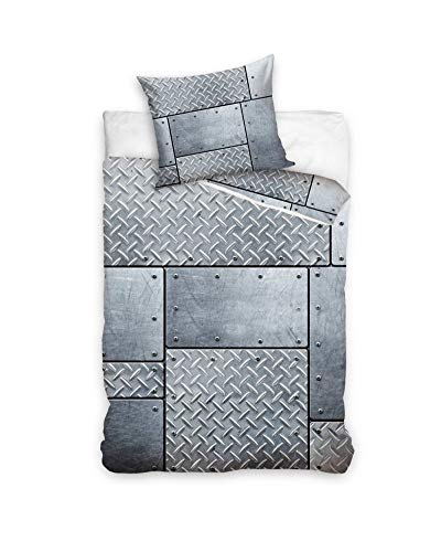 Plaques de Métal Parure de lit réversible - 100% Coton - Housse de Couette 140x200 cm + Taie d'oreiller 70x80 cm