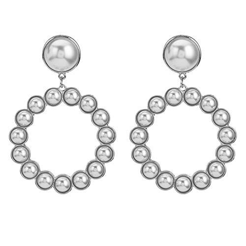 N/A Hochwertige weiße Perle runder Anhänger baumelnde Ohrringe Damen Barock Stil personalisierte Ohrringe 8cm