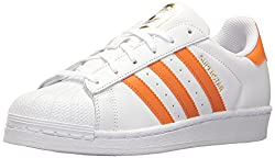 Adidas Woman's Superstar White, Orange Stripe Color - Front View