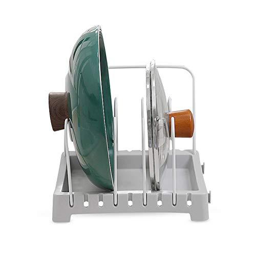 Hwtcjx pfannenständer, Pfannenregal, topf organizer, Töpfe Regal, Hergestellt aus PP + Stahldraht, sicher, langlebig, U-förmige Halterung, verstellbar, für Topfdeckel, Pfanne (1 Stk., grau)