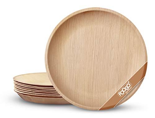 FOOGO Green 25 Platos de hoja de palma Desechable |25cm Grande Ronda Duro| Vajilla Ecológico Biodegradable |Como platos de bambu, Platos de plástico, Platos de papel|Para la Fiesta de Bodas,Camping