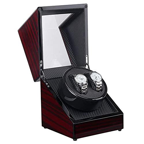 FGVDJ Caja enrolladora automática Doble de Madera, Fibra de Carbono, Acabado de Piano, Motor silencioso, Adaptador de CA y Funciona con Pilas, marrón
