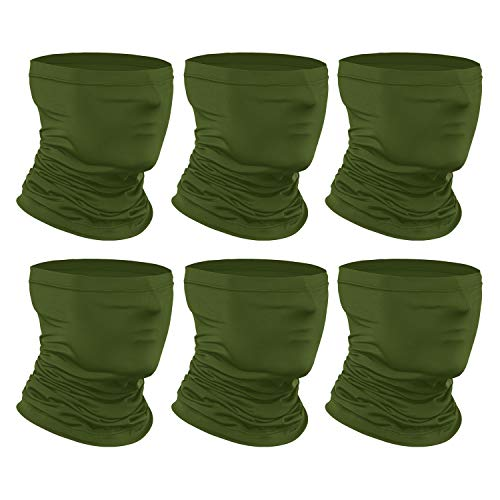 [6-Pack] Neck Gaiter Scarf, Breathable Bandana Face Bandana Cover Cooling Neck Gaiter for Men Women Cycling Hiking Fishing. Army Green
