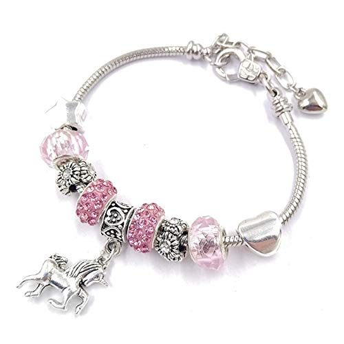 Girls Magical Unicorn Sparkly Pink Crystal Charm Bracelet Gift Box Set