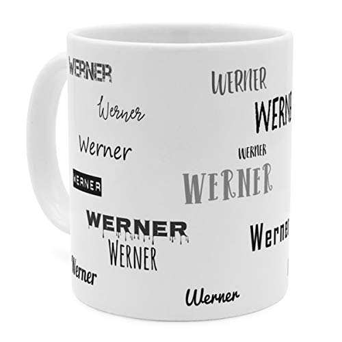 printplanet Tasse mit Namen Werner - Motiv Schriftarten Sammlung - Namenstasse, Kaffeebecher, Mug, Becher, Kaffeetasse - Farbe Weiß