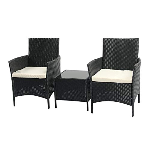 Buyer Empire Rattan Garden Furniture, Outdoor Table and Chairs Garden Furniture Set, COMFORTABLE Sun Loungers Set Of 2 With Coffee Table and Cushions Outdoor/Indoor, Garden, Balcony, Pool Side (Black)