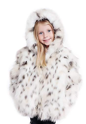 Donna Salyers' Fabulous-Furs Childrens Snow Leopard Faux Fur Parka (S) (Snow Leopard)