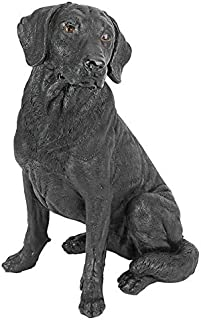 Design Toscano Black Labrador Retriever Dog Garden Statue, 15 Inch, Multicolored