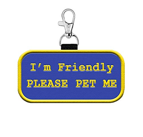 """WORKINGSERVICEDOG.COM """"I'm Friendly Please Pet Me"""" Clip on Identification Hanging Patch Tag – Clips onto a Service Dog, Therapy Dog Vest, Harness, Collar, Leash or Carrier."""