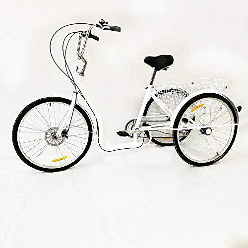 DIFU Rower trzykołowy dla dorosłych, damski rower 26 cali, 6 prędkości, 3 rowery, biały, tricykl, z koszem, dla seniorów, do sportów na świeżym powietrzu, na zakupy