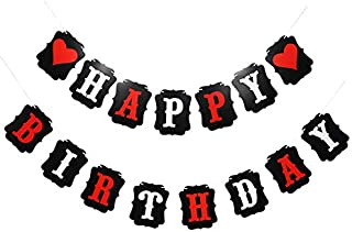 Mony's Decor Happy Birthday Heart Banner in Red Black and White