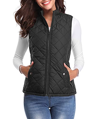 Fuinloth Women's Quilted Vest, Stand Collar Lightweight Zip Padded Gilet Black M