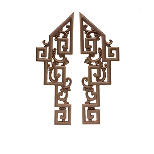 BEYTII 2 stücke geschnitzt Exquisite Vintage dekorative Holz formt holzapplikation eingelegter holzapplikat Long floral holzmöbel Fenster Ecke Dekoration (Color : A50 2)