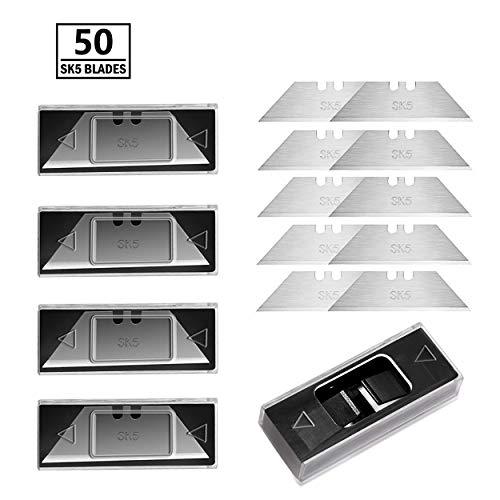 Bibury Universalmesser SK5 Ersatzklingen, 50 Stück mit 5 kleinen Hüllen, für Cuttermesser Teppichmesser Cutter Klingen 60mm