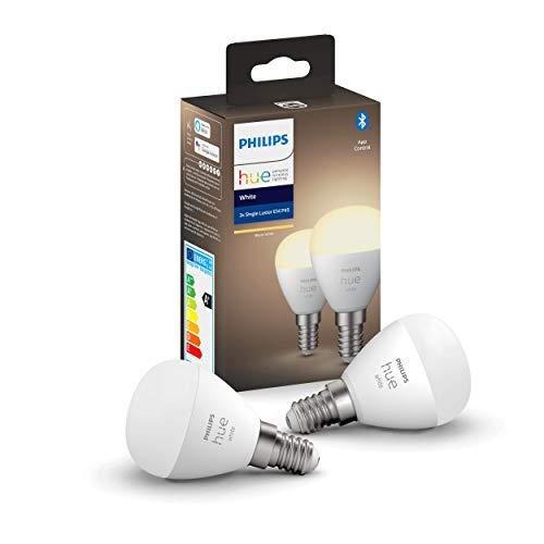 Philips Lighting 929002440602 Hue White Luster 2 Lampadine Sferiche P45 Smart, con Bluetooth, Luce Bianca Tenue, Attacco E14